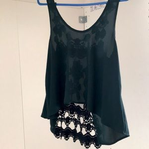 Audrey 3+1 sheer front embroidered back H/L Top